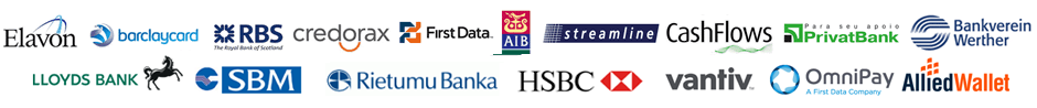 Accredited partners with UK, European and Worldwide acquiring banks